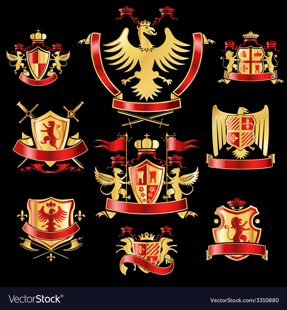 Heraldic labels gold red vector | Price: 1 Credit (USD $1)