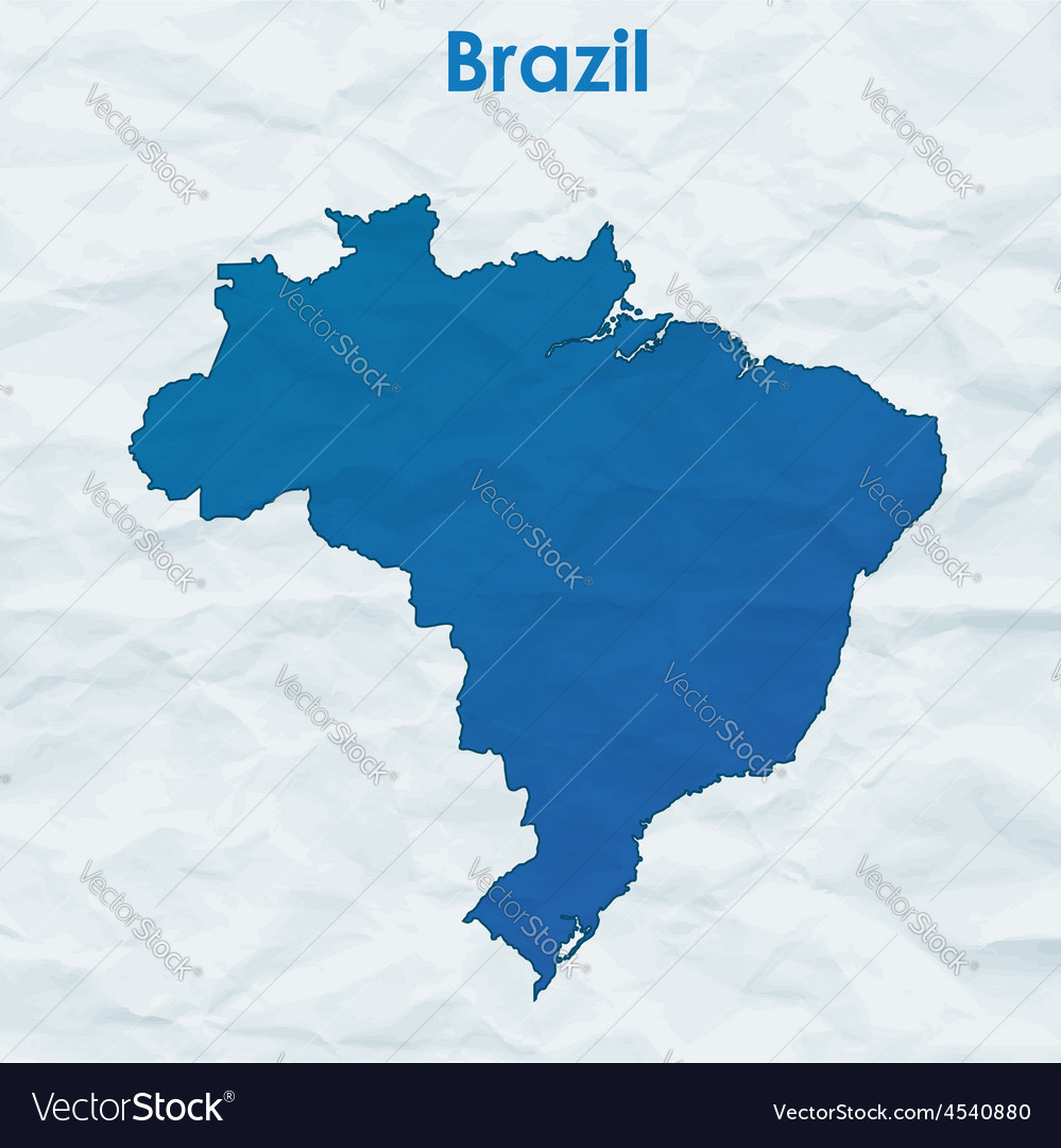 Map of brazil silhouette on crumpled paper vector   Price: 1 Credit (USD $1)