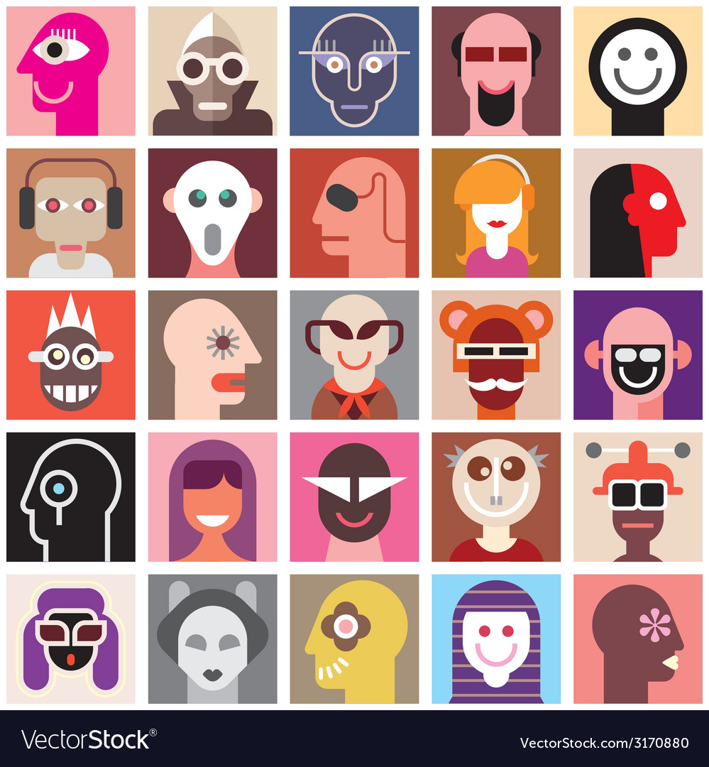 People portraits vector | Price: 1 Credit (USD $1)