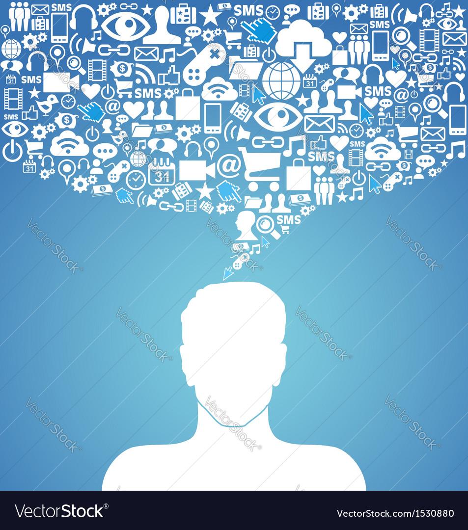 Social media communication man vector | Price: 1 Credit (USD $1)