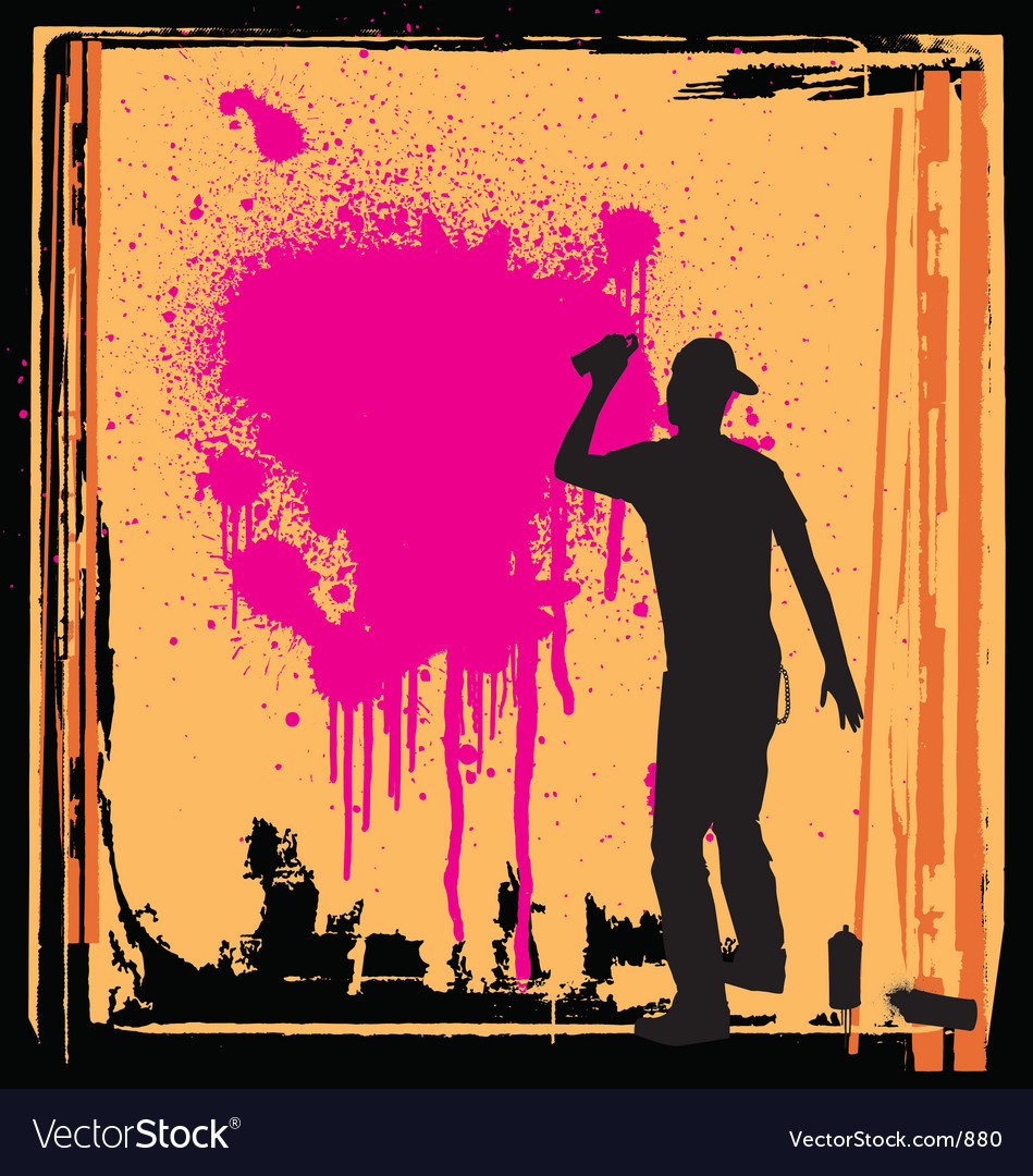 Spray guy on wall vector | Price: 1 Credit (USD $1)