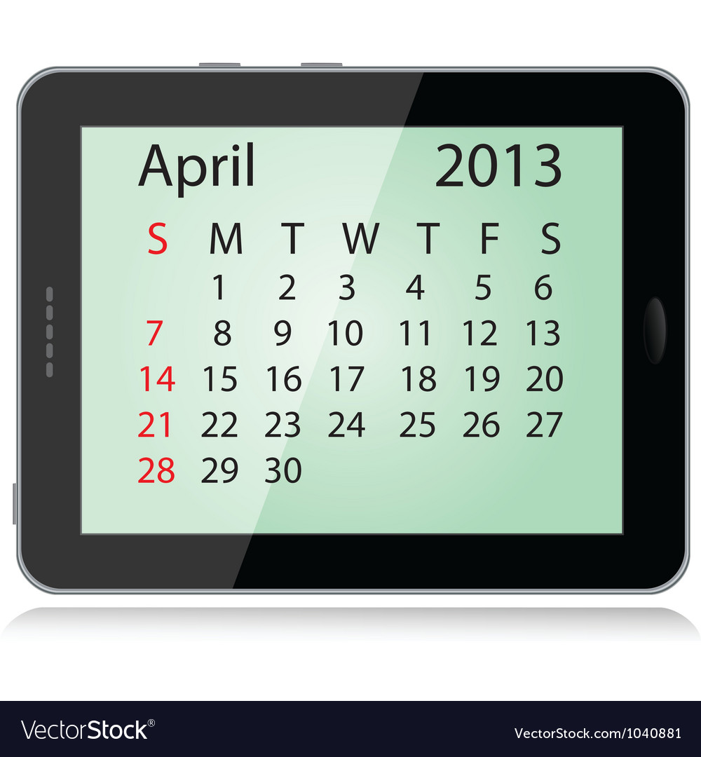 April 2013 calendar vector | Price: 1 Credit (USD $1)