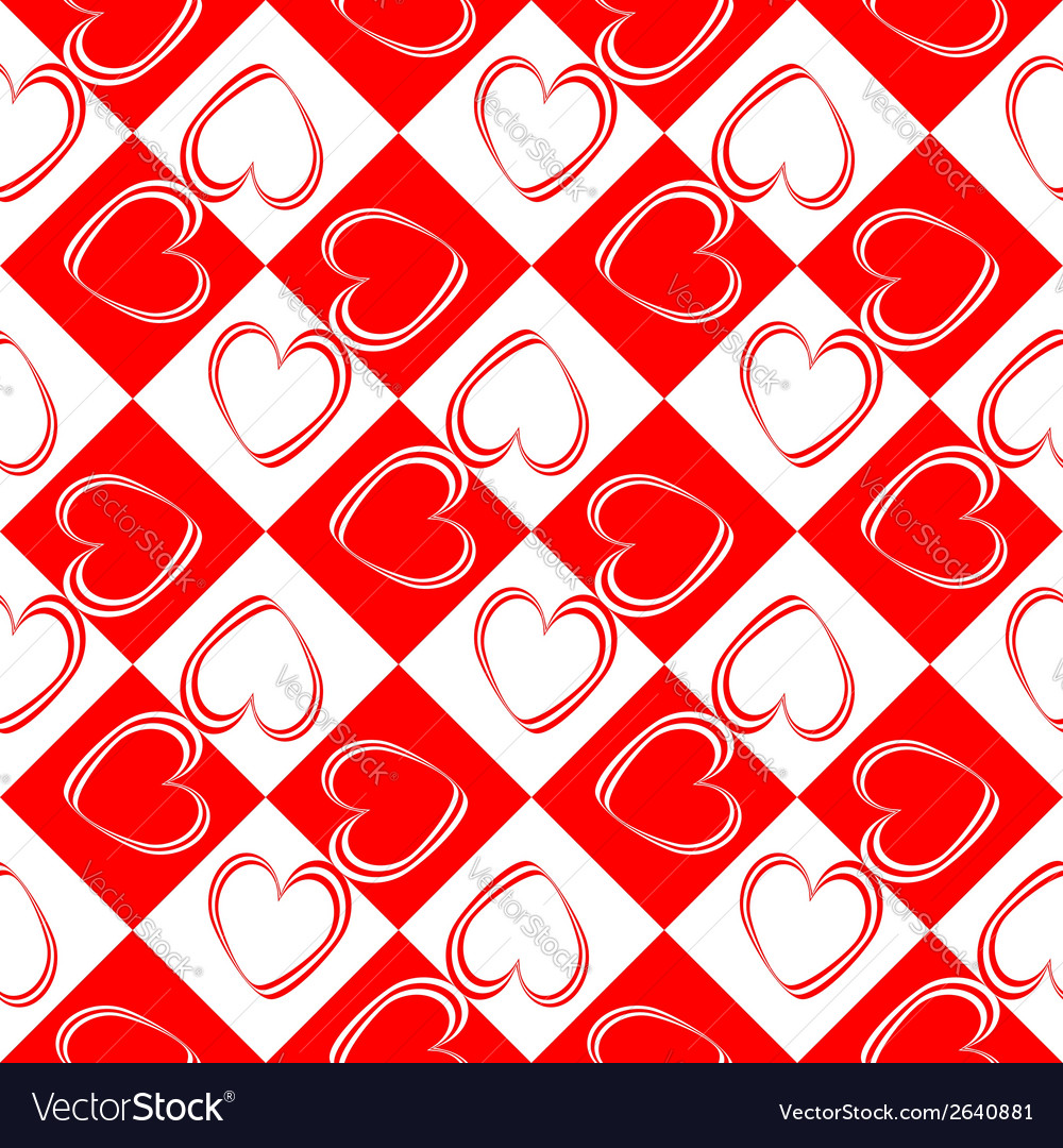 Design seamless red hearts pattern vector | Price: 1 Credit (USD $1)