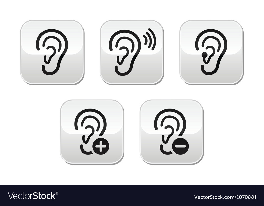 Ear hearing aid deaf problem buttons set vector | Price: 1 Credit (USD $1)
