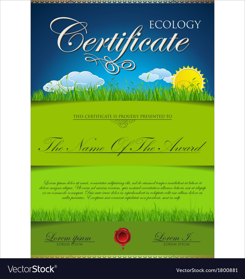 Ecology certificate template vector | Price: 1 Credit (USD $1)