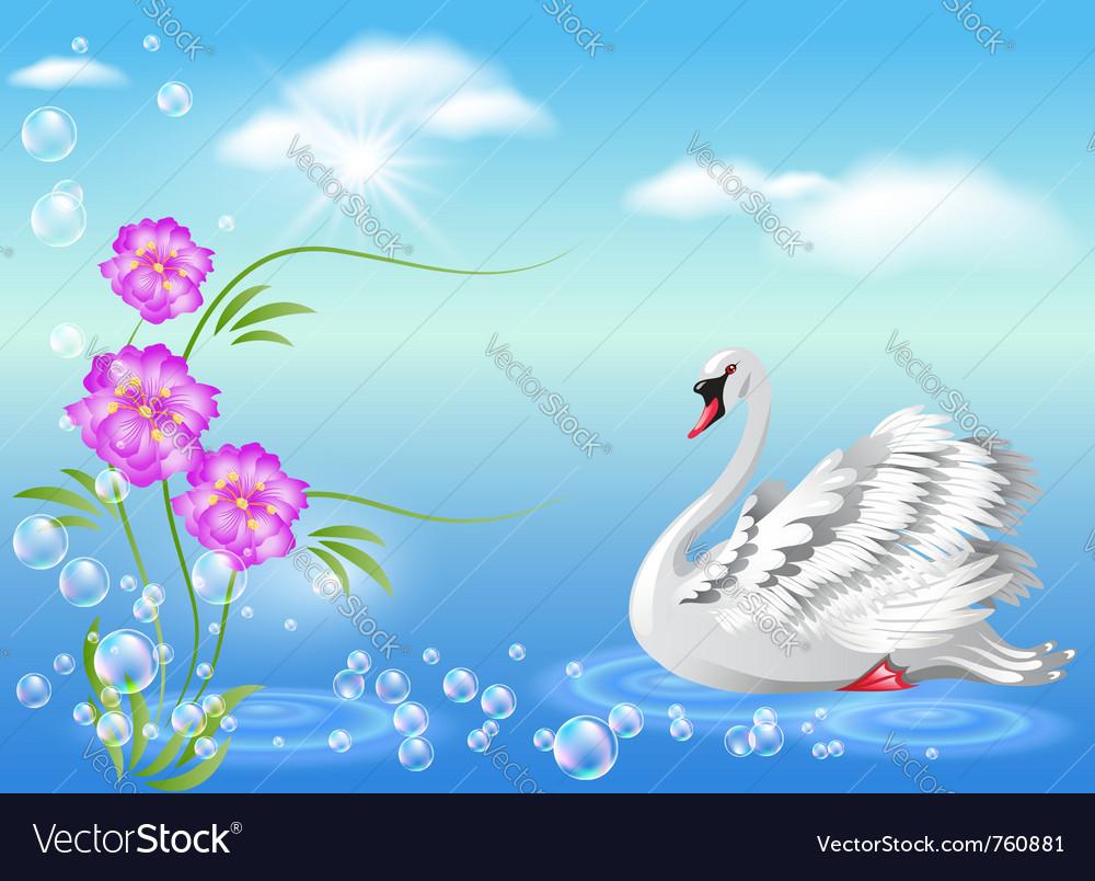 Elegant white swan vector | Price: 1 Credit (USD $1)
