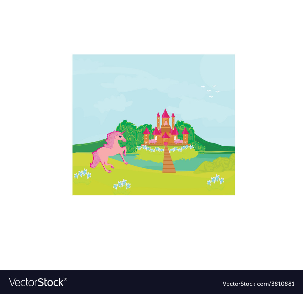 Fairytale landscape with magic castle and pink vector | Price: 1 Credit (USD $1)