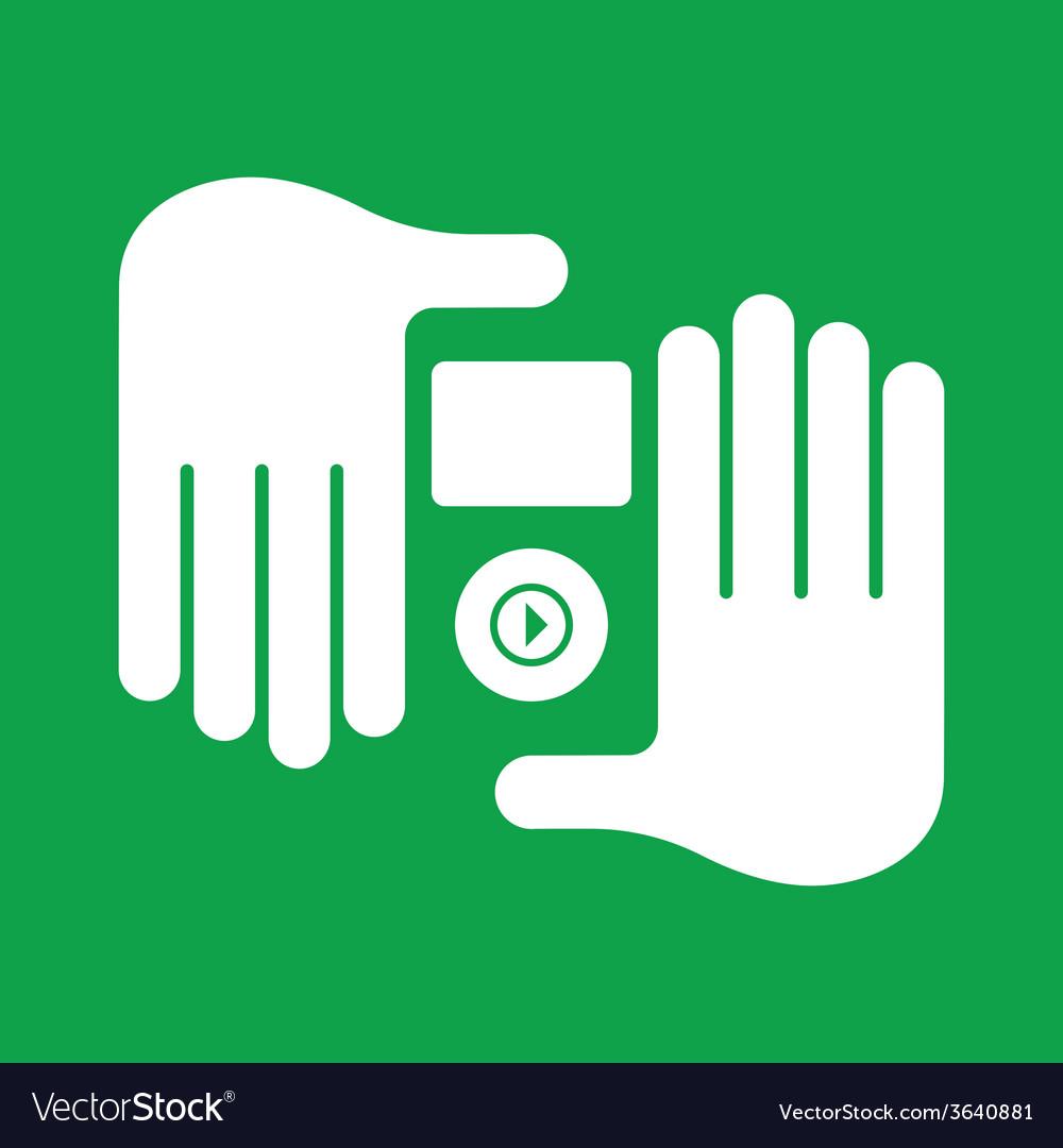 Hand audio player vector | Price: 1 Credit (USD $1)