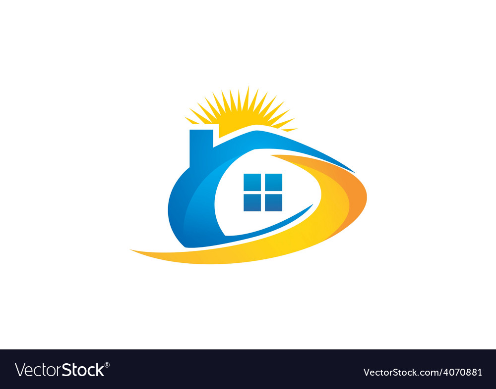 House sun solar abstract logo vector | Price: 1 Credit (USD $1)