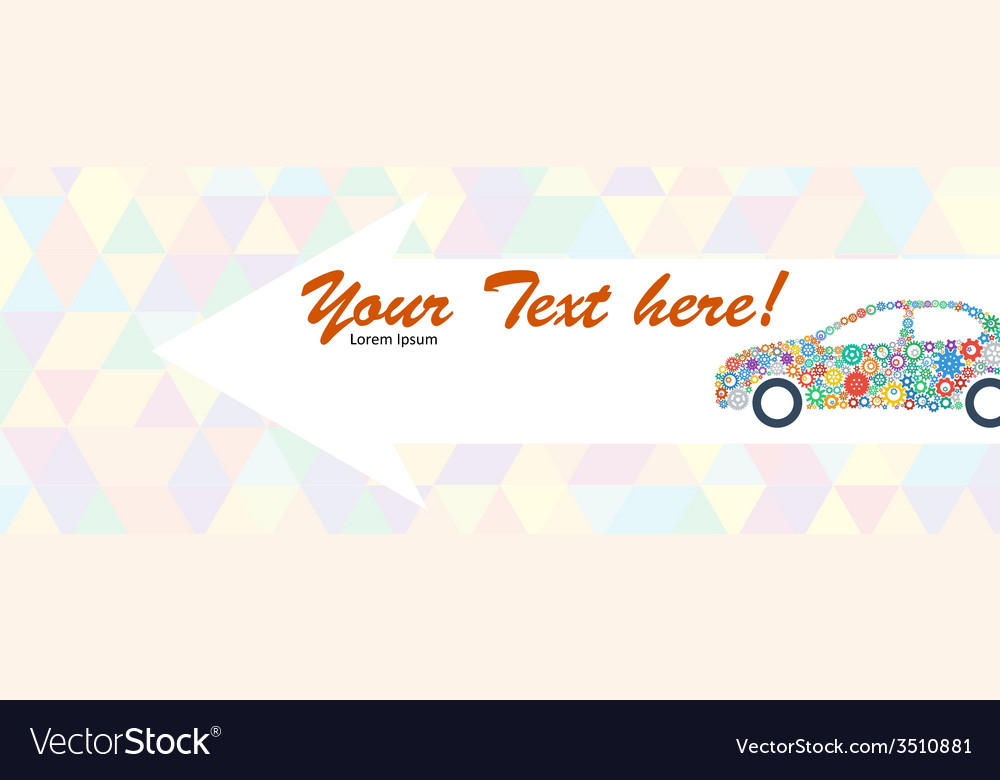 Indicating banner with the car of multicolored vector | Price: 1 Credit (USD $1)