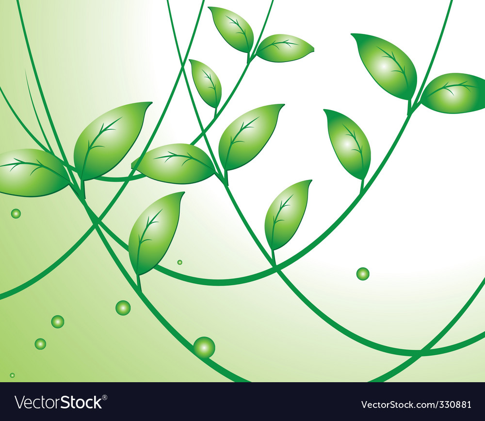 Light background with green leaves vector | Price: 1 Credit (USD $1)