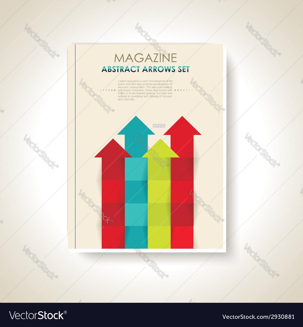 Modern brochure design with color arrows set vector | Price: 1 Credit (USD $1)