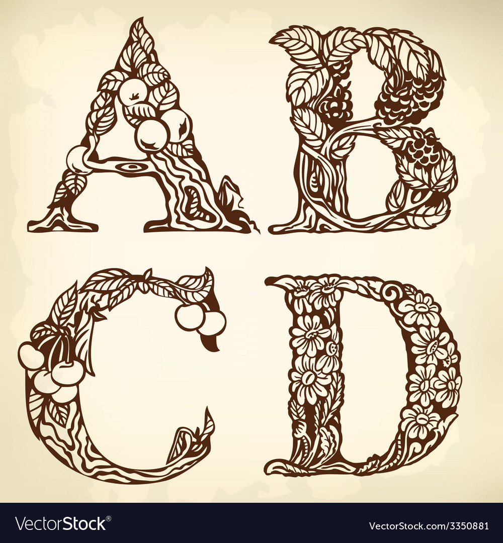 Set of letters abcd vector | Price: 1 Credit (USD $1)