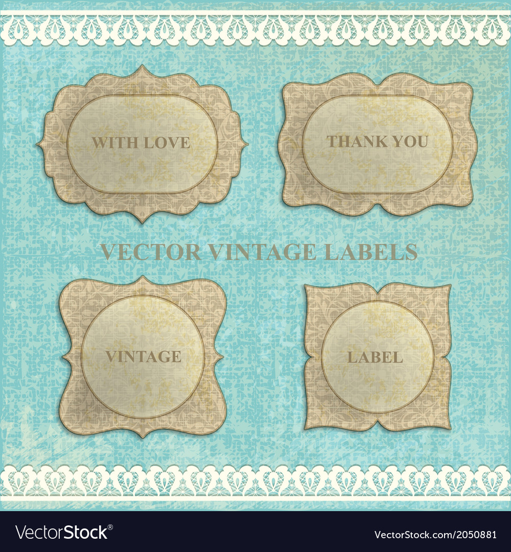 Set vintage labels with flowers vector | Price: 1 Credit (USD $1)