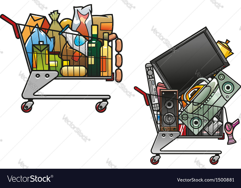 Shopping carts with goods vector | Price: 1 Credit (USD $1)