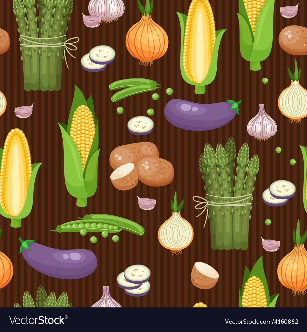 Asparagus corn and peas seamless background vector | Price: 1 Credit (USD $1)