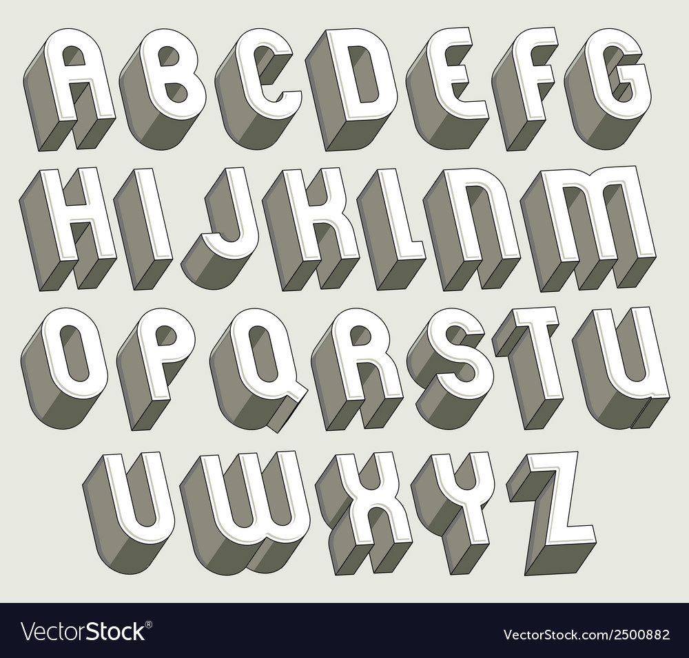 Bold and heavy 3d letters set vector   Price: 1 Credit (USD $1)