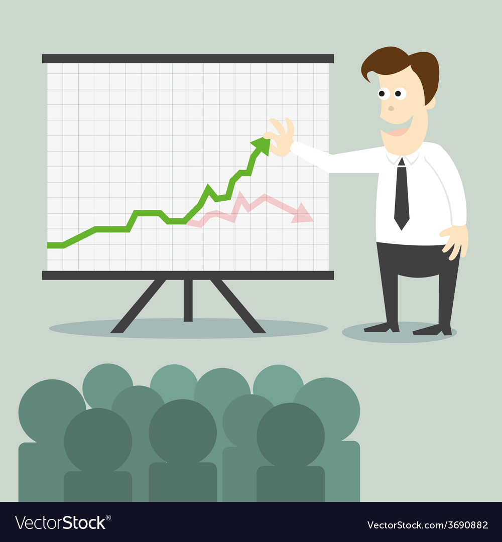 Business man with chart presentation to people vector | Price: 1 Credit (USD $1)