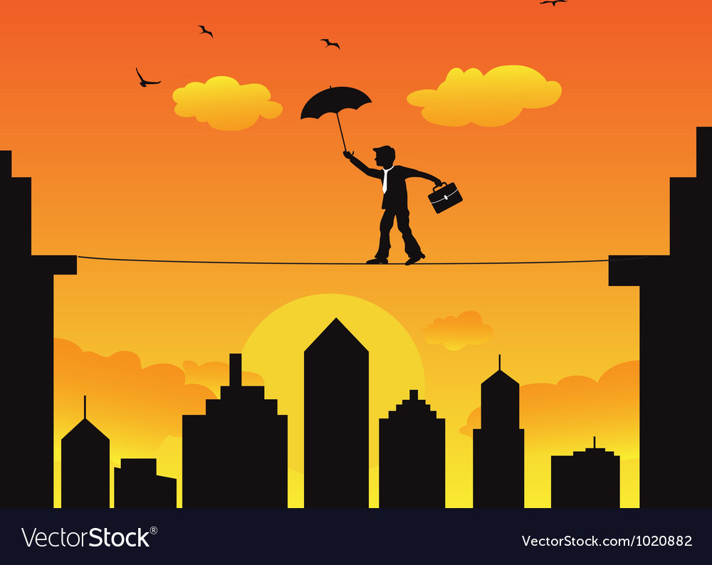 Businessman walking a high wire tightrope vector | Price: 1 Credit (USD $1)