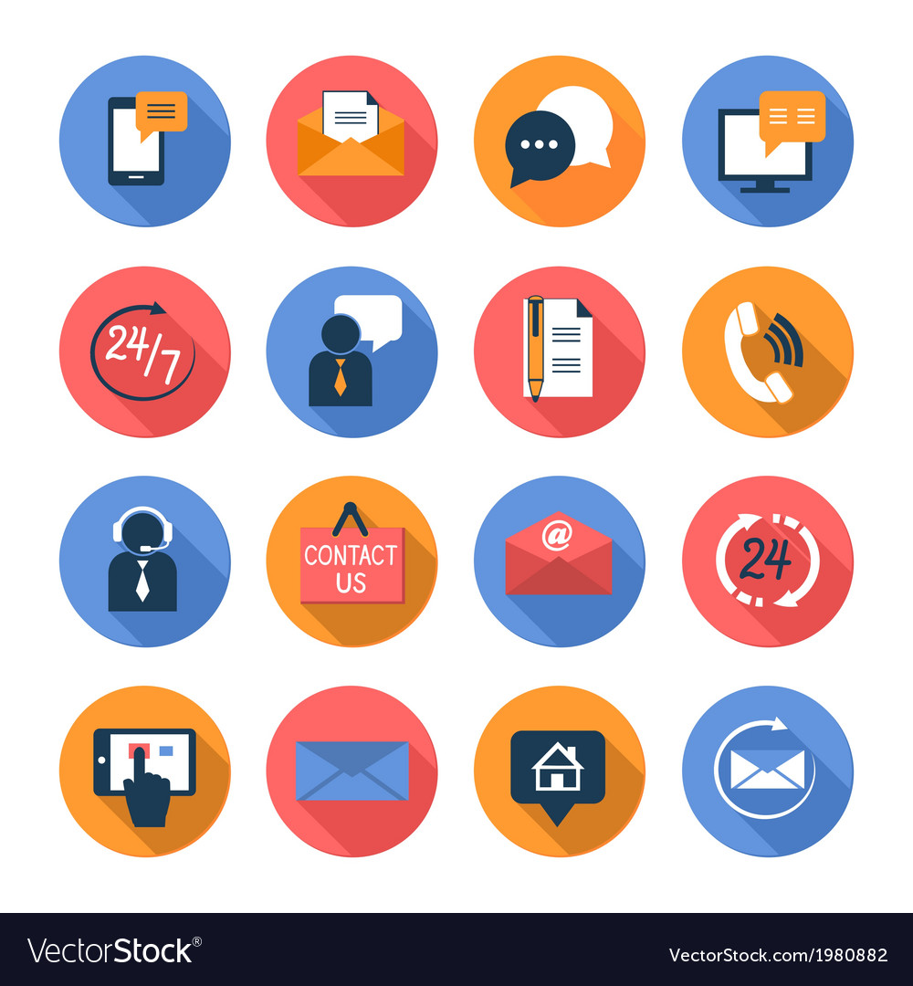 Customer care contacts flat icons set vector | Price: 1 Credit (USD $1)