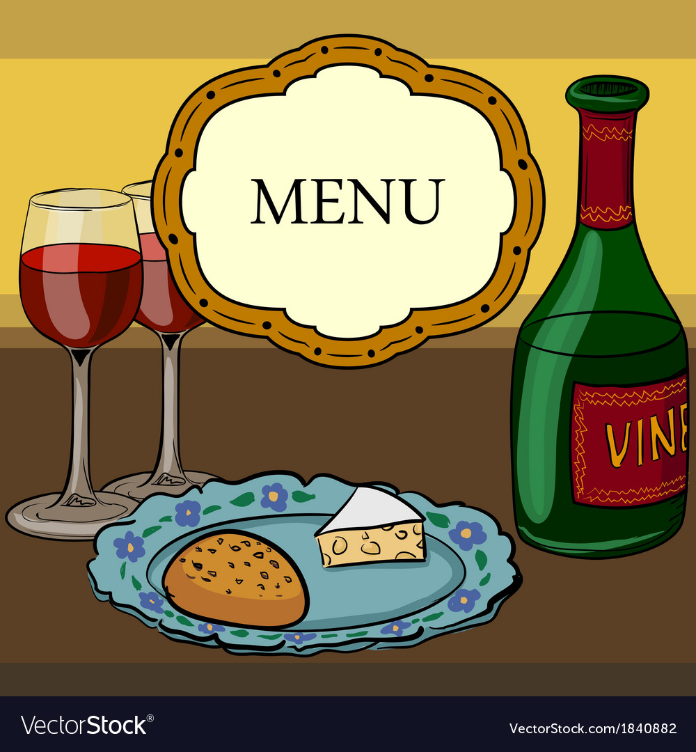 Drawing of wine and glasses vector | Price: 1 Credit (USD $1)