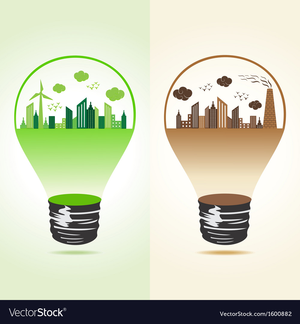 Eco and polluted cityscape in bulb vector | Price: 1 Credit (USD $1)