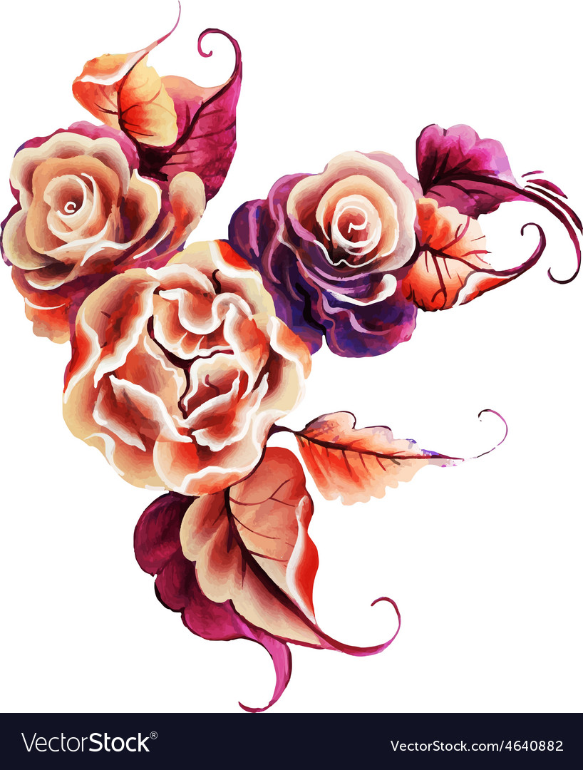 Flowers rose one stroke painting vector | Price: 3 Credit (USD $3)