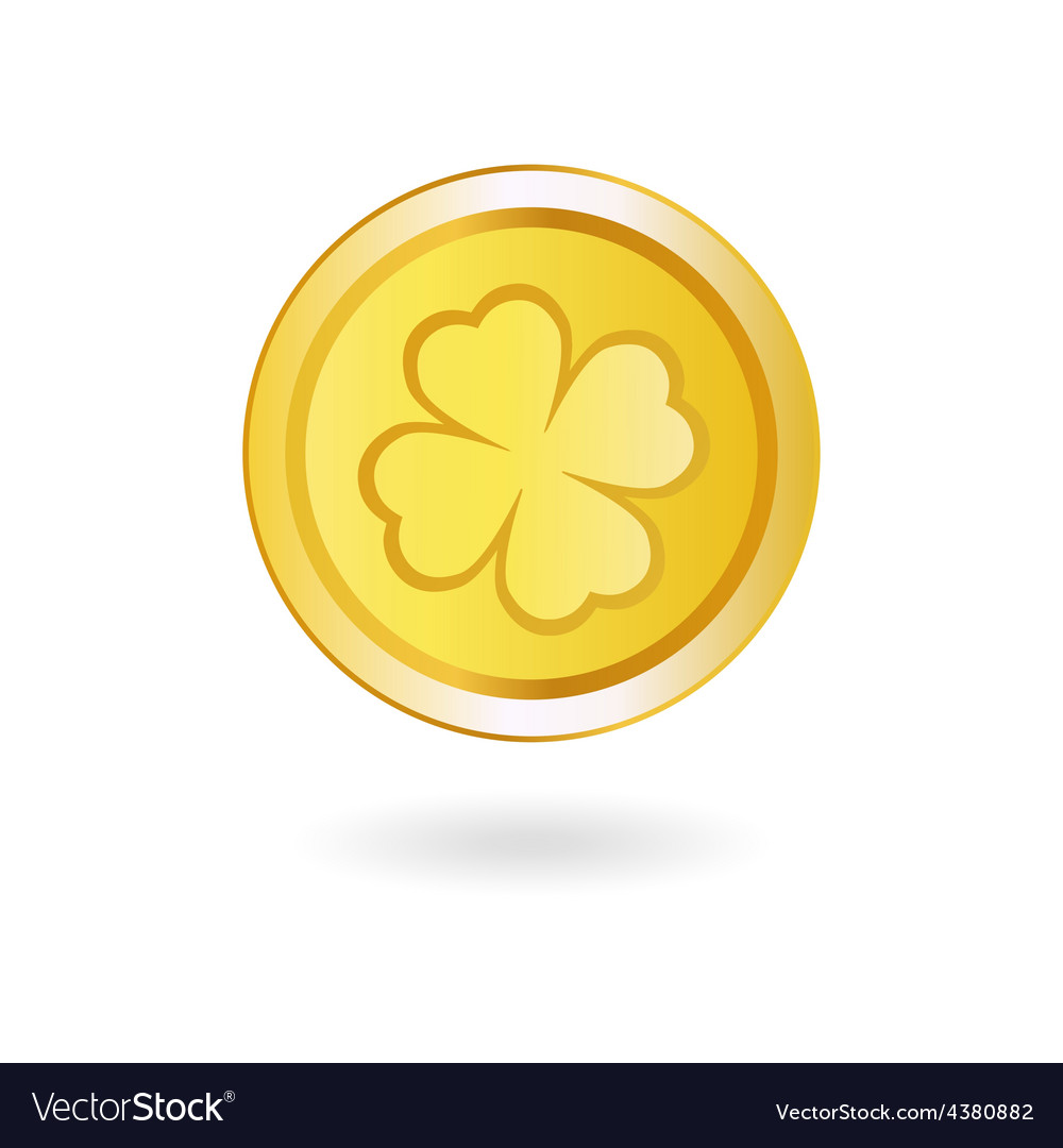 Golden coin with irish shamrock vector | Price: 1 Credit (USD $1)