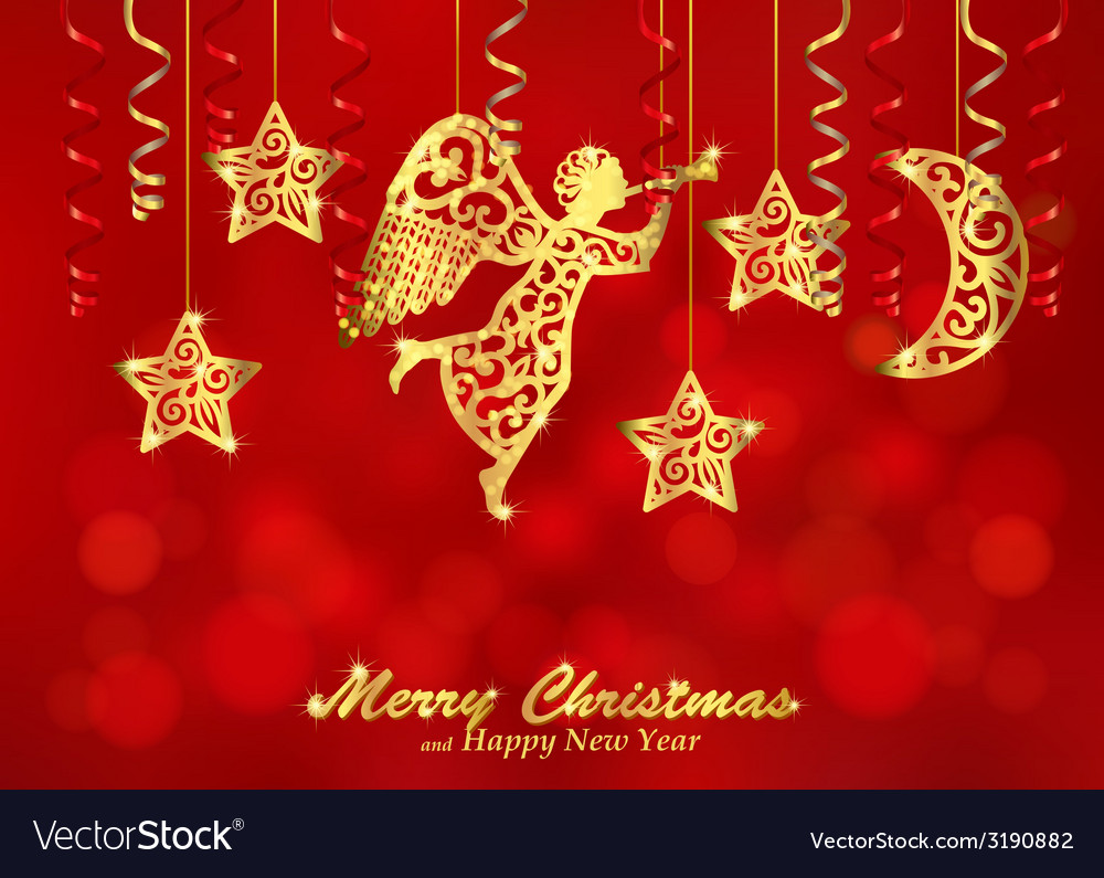Holiday red background with golden figures of vector | Price: 1 Credit (USD $1)