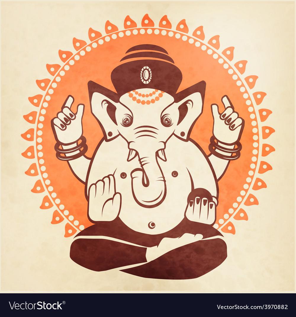 Indian god ganesha on a beige background vector | Price: 1 Credit (USD $1)