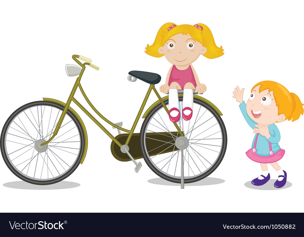 Kids on a bike vector | Price: 3 Credit (USD $3)