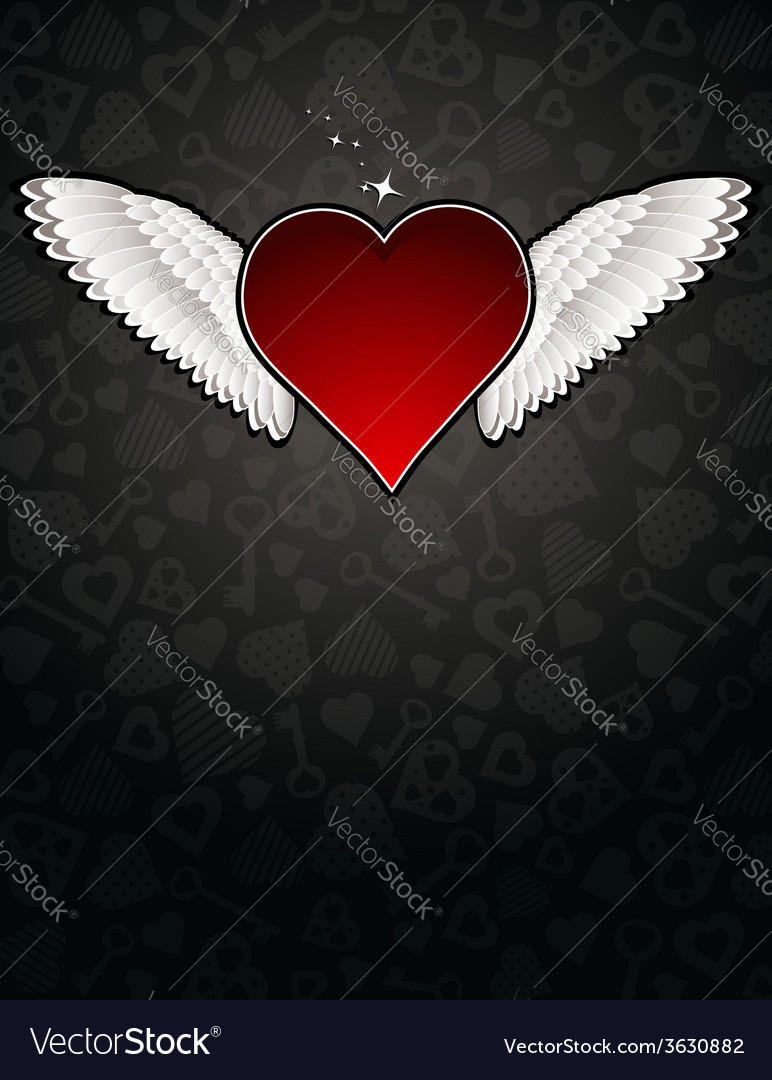 Lovely red heart on black background vector | Price: 1 Credit (USD $1)