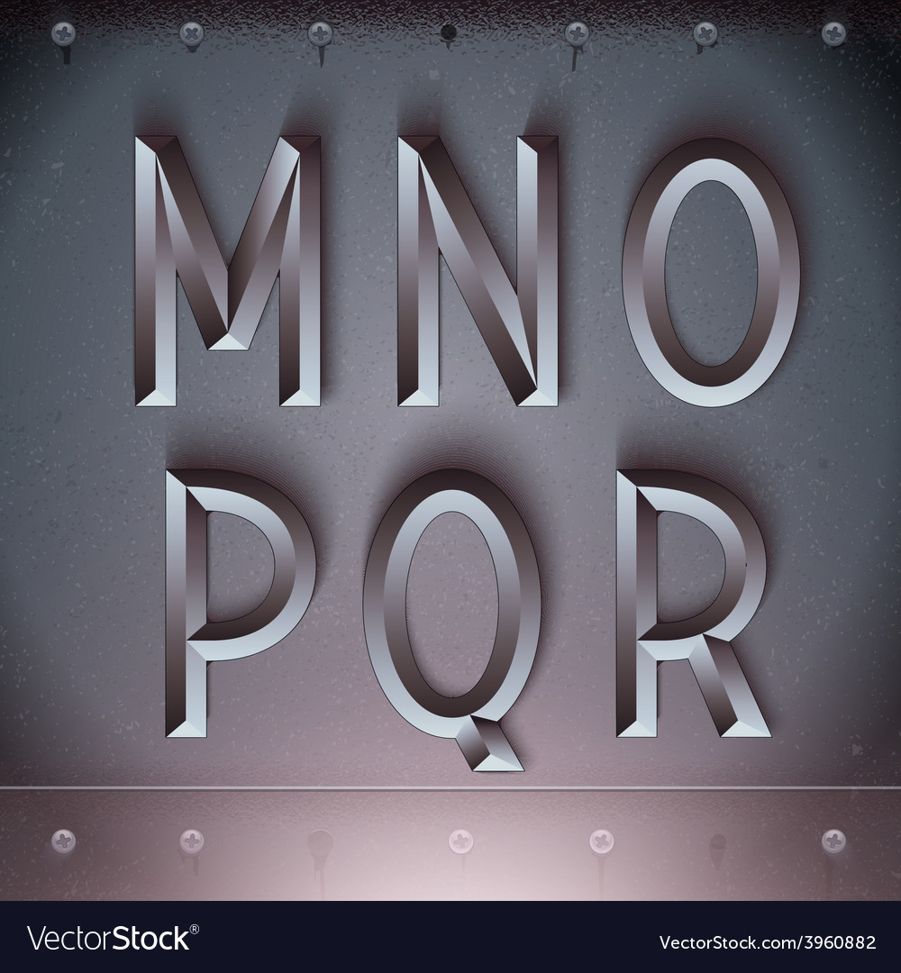 Metal embossed font from m to r vector | Price: 3 Credit (USD $3)