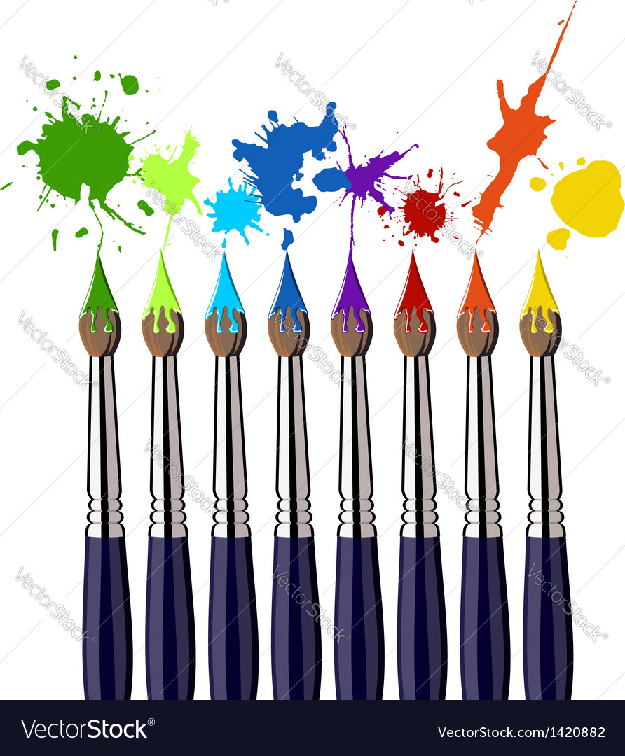 Paint brushes and color splash vector | Price: 1 Credit (USD $1)