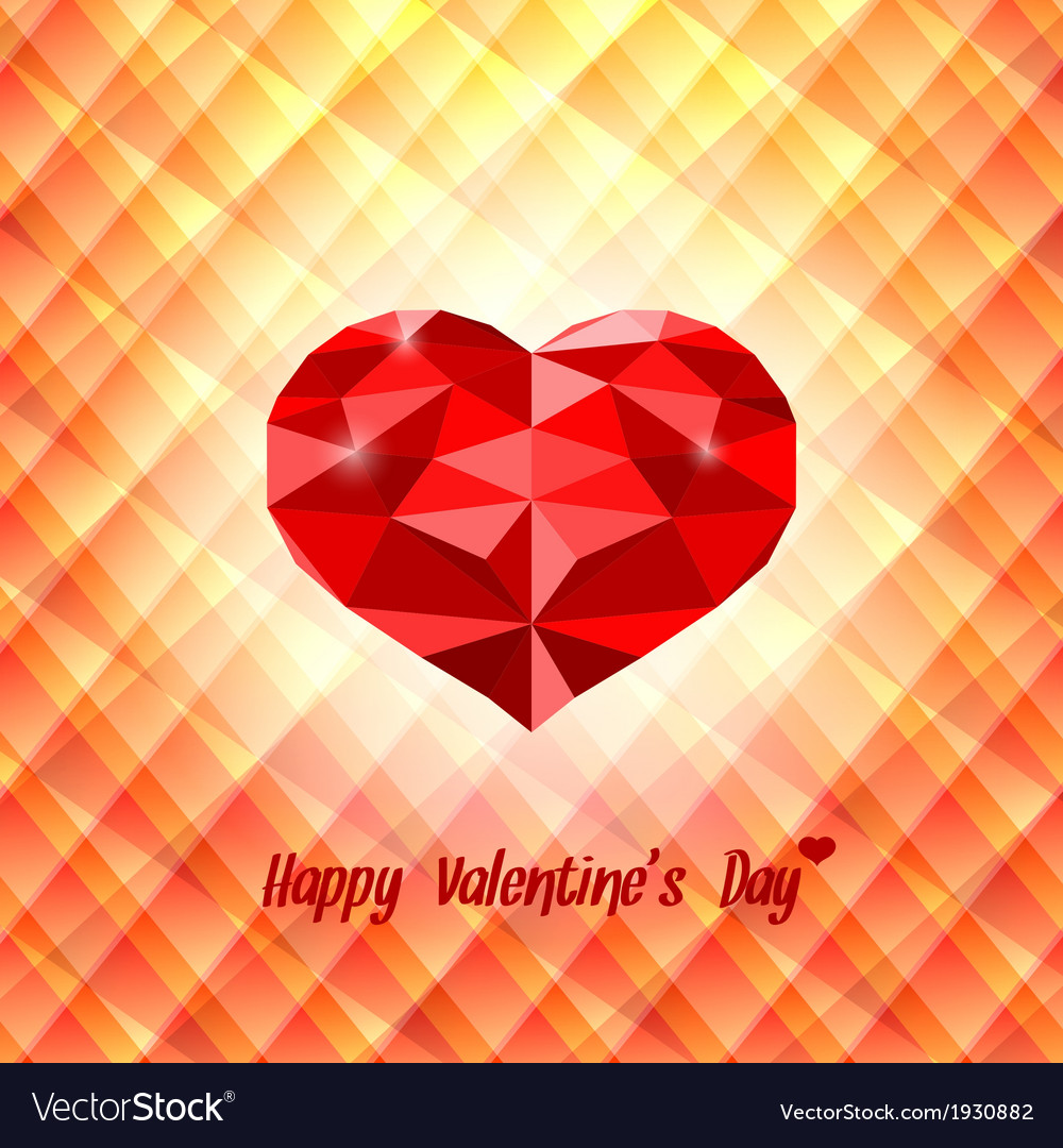 Polygonal red heart on triangular background vector | Price: 1 Credit (USD $1)