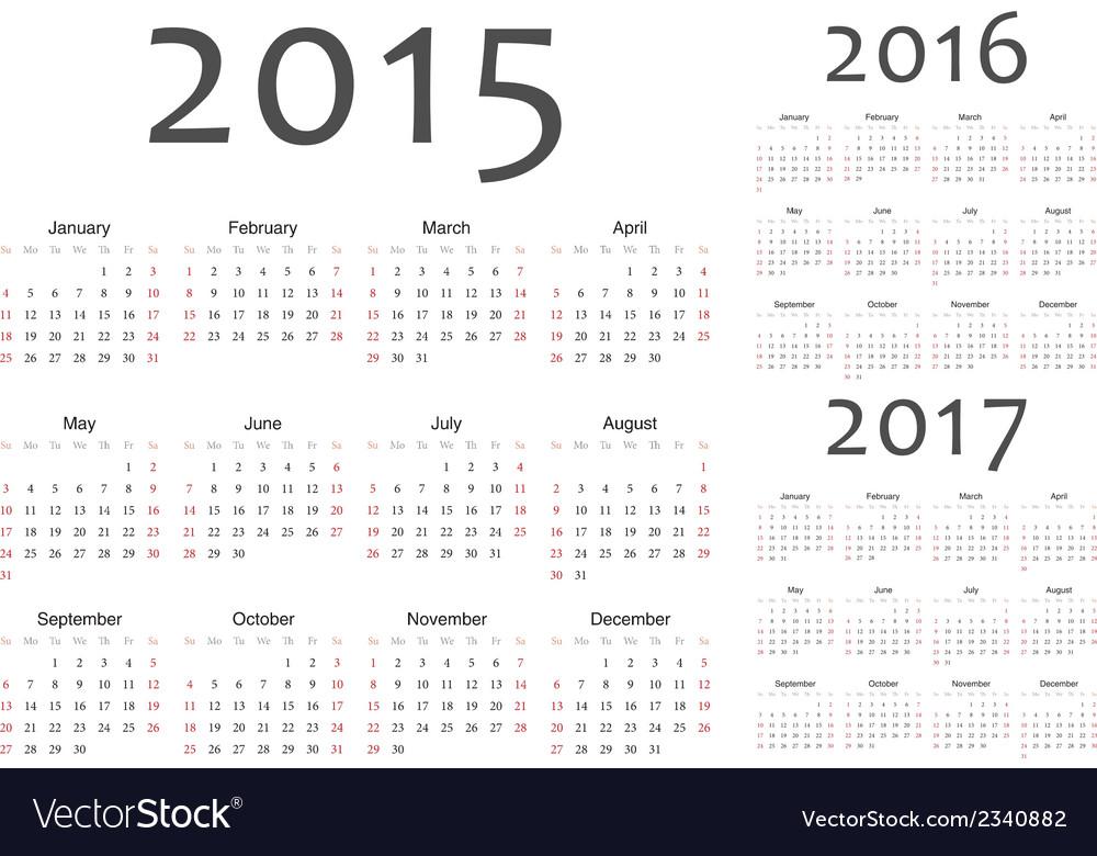 Set of european year calendars vector   Price: 1 Credit (USD $1)