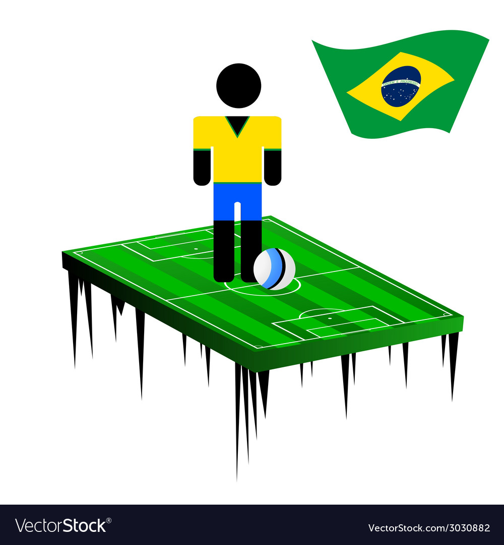 World cup in brasil with football player color vector | Price: 1 Credit (USD $1)