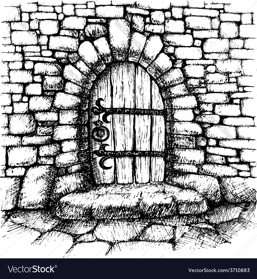 Arched door in a stone wall scatch vector | Price: 3 Credit (USD $3)