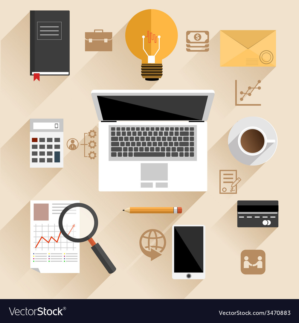 Businessman work desk flat concept vector   Price: 1 Credit (USD $1)