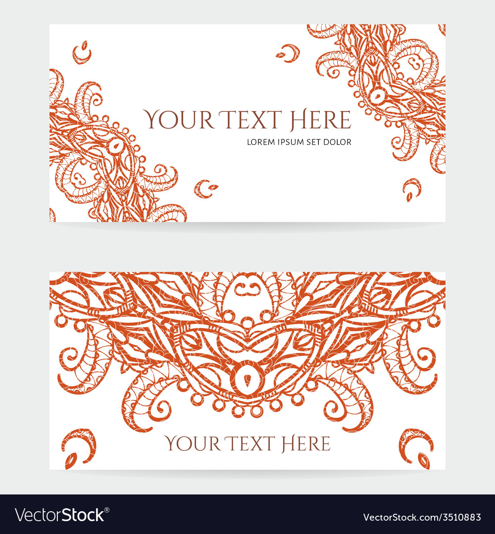 Cards with intricate henna patterns vector | Price: 1 Credit (USD $1)
