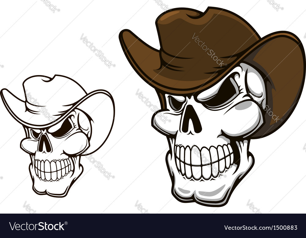 Cowboy skull in hat vector | Price: 1 Credit (USD $1)
