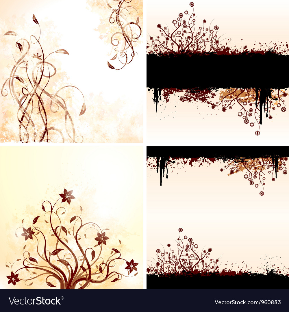 Grunge floral backgrounds vector | Price: 1 Credit (USD $1)