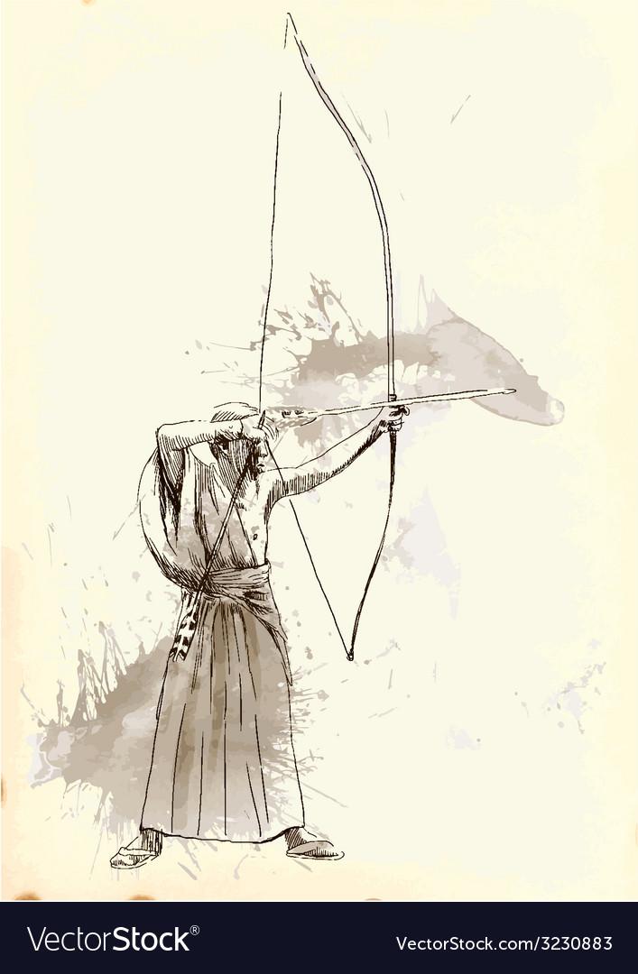 Kyudo - an hand drawn vector | Price: 1 Credit (USD $1)
