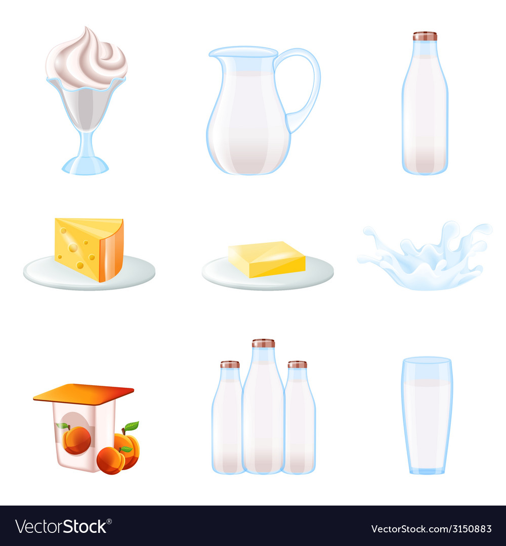 Milk realistic icons set vector | Price: 1 Credit (USD $1)