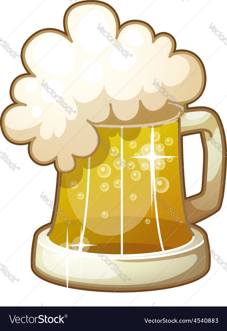 Mug of beer with foam isolated on white background vector | Price: 1 Credit (USD $1)