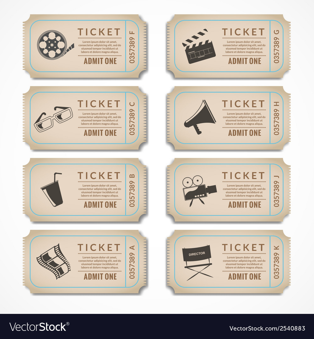 Retro cinema tickets vector | Price: 1 Credit (USD $1)