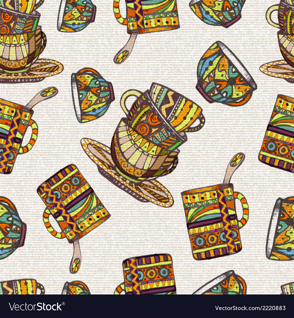 Seamless pattern with teapot and cup vector | Price: 1 Credit (USD $1)