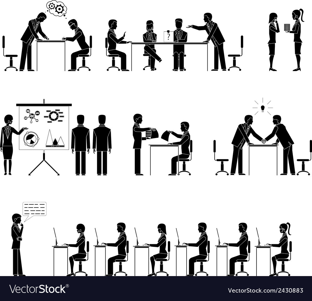 Set of business people silhouettes in meetings vector | Price: 1 Credit (USD $1)