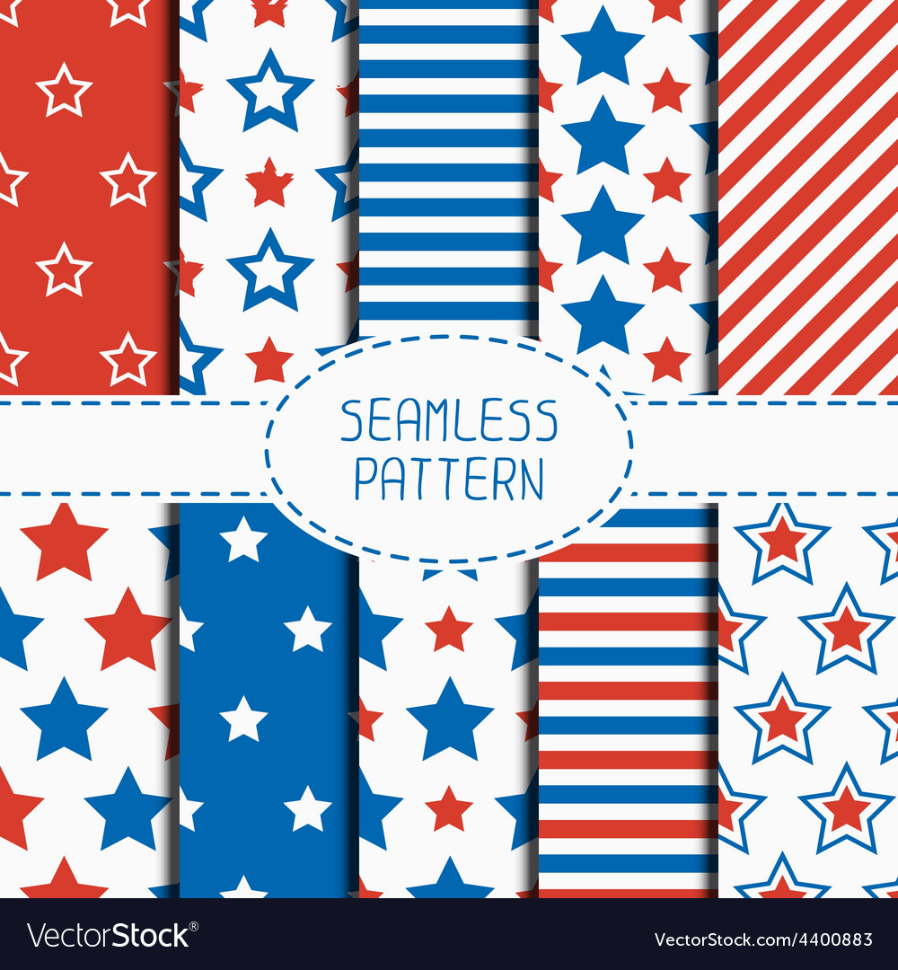 Set of geometric patriotic seamless pattern with vector | Price: 1 Credit (USD $1)
