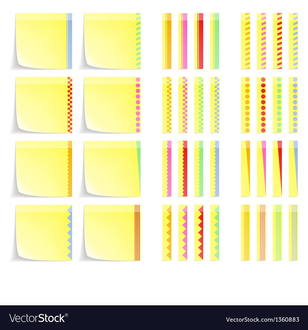 Set of postit labels with decorative border vector | Price: 1 Credit (USD $1)